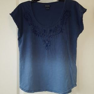 Women's Lucky Brand Blue Ombre Embroidery Shirt, L